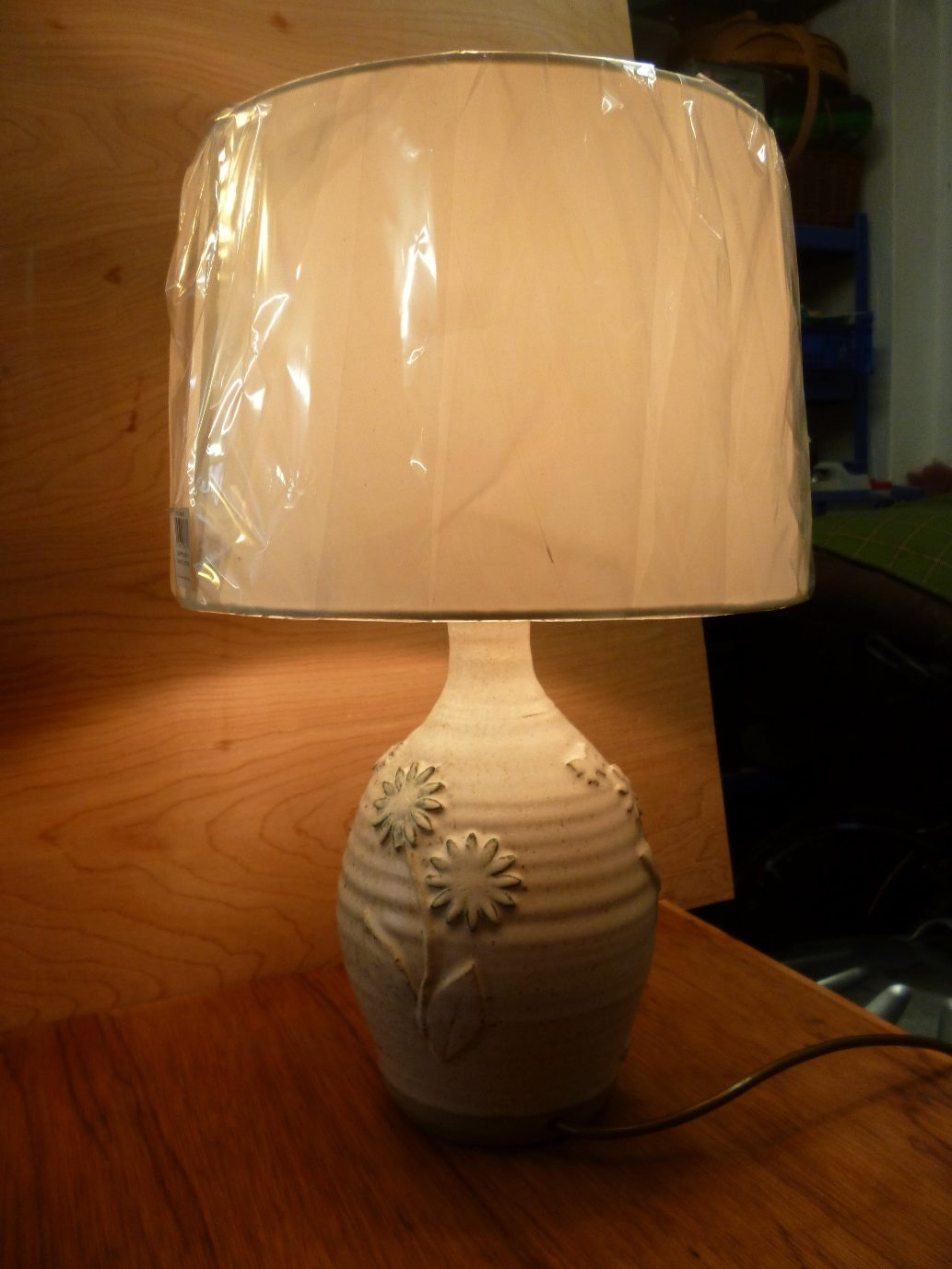 Max Balme Table lamp stoneware natural glaze with sprigged decoration