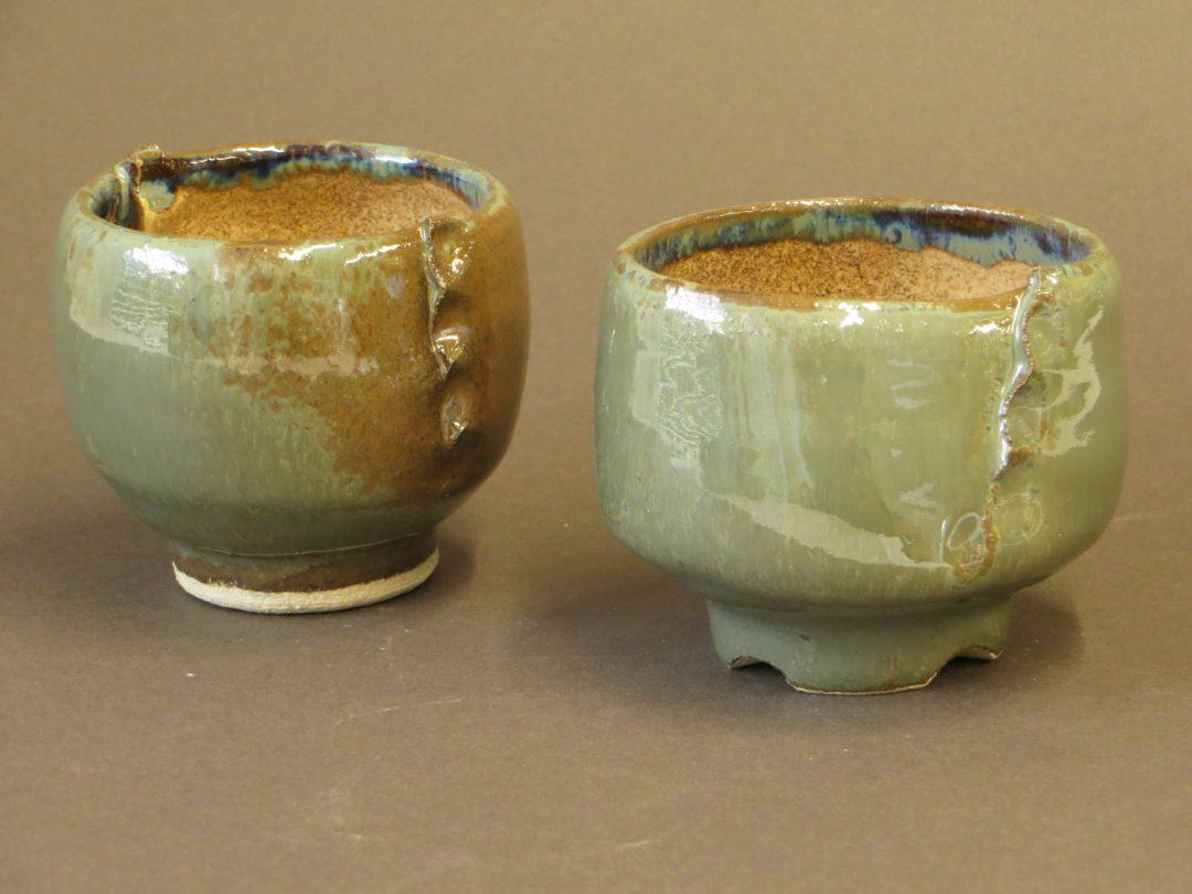 grey green tea bowls