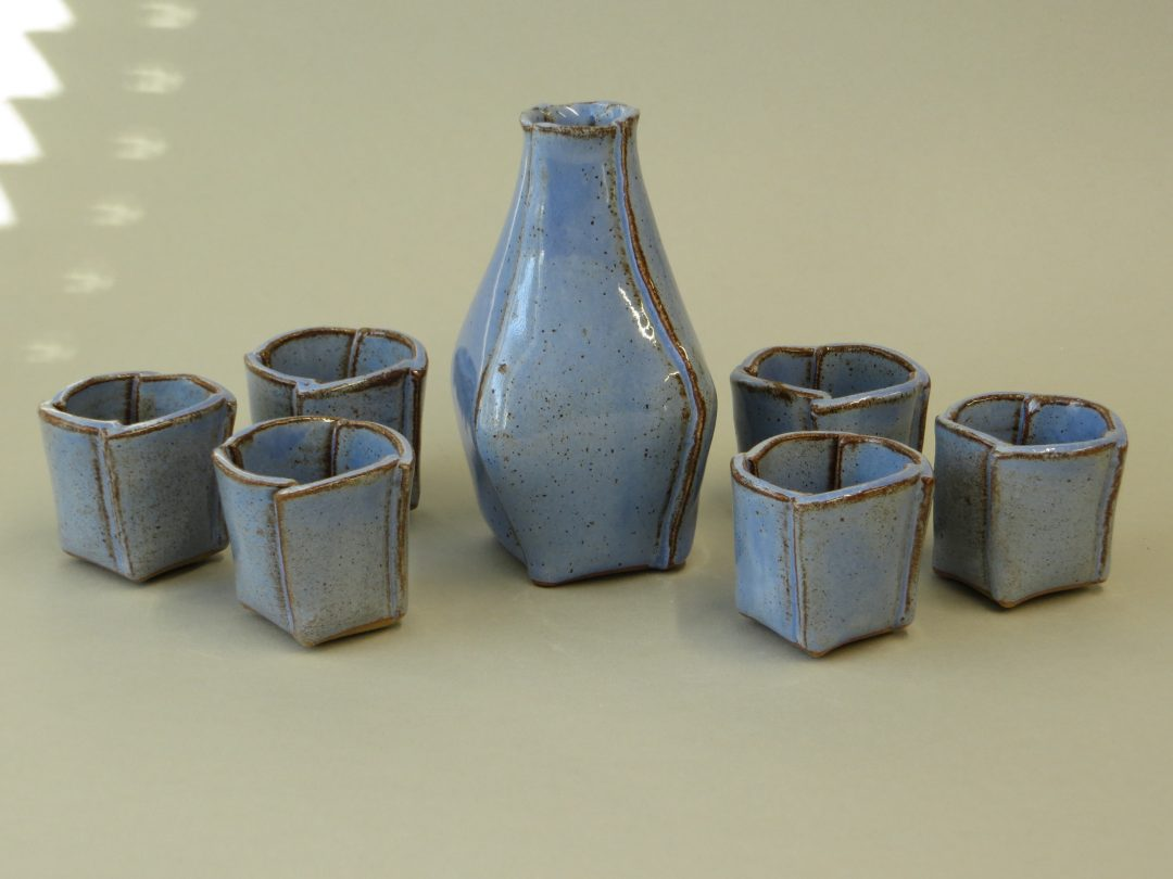 pale blue speckled sake set